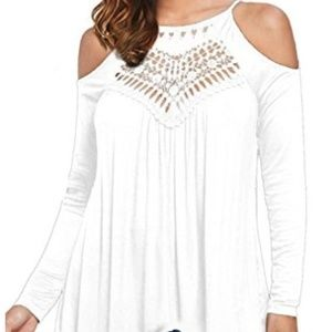 Women's Casual Tops Lace Off Shoulder Long Sleeve